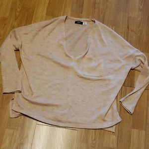 BDG oversized cropped neutral vee neck sweater